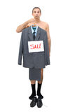 Needy. The needy businessman sells the his clothes Royalty Free Stock Image