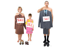 Needy family. The family of the needy businessman sells the clothes Stock Images