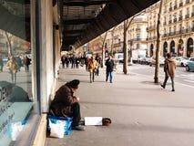 Needy Senior Begging Printemps Haussmann Paris Stock Photo