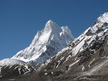 Neelkanth peak with moraine in foreground Royalty Free Stock Images