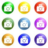 Neem de pictogrammen van het fotodoel geplaatst vector royalty-vrije illustratie