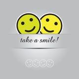 Neem een glimlach Grappige groetkaart in Vectorformaat Stock Afbeelding