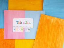 Neem een glimlach, positief het denken concept Stock Foto's