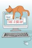 Neem een onderbreking! illustratie met leuke kat vector illustratie