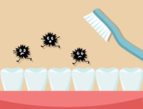 Neem hygiëne waar en borstel uw tanden elke dag Stock Foto