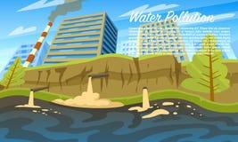 Neem nota van het groene water Milieu probleem Emissies van giftig gevaarlijk radioactief afval Huishoudelijk afval in de rivier royalty-vrije illustratie