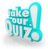 Neem Onze Test van de de Woordenbeoordeling van Quiz 3D Brieven Stock Fotografie
