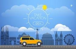 Neem Vakantie reizend concept Vlak Ontwerp Royalty-vrije Stock Afbeeldingen