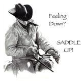Neer het voelen? Zadel omhoog! De Tekening van het potlood, Cowboy vector illustratie