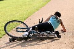 Neerstorting met fiets Royalty-vrije Stock Fotografie