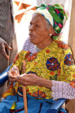 NEFAST EFFECT OF POST ELECTORAL CRISIS IN COTE D`IVOIRE. Elderly person with a distraught face, victim of emotional and physical trauma during the post-election Royalty Free Stock Photography