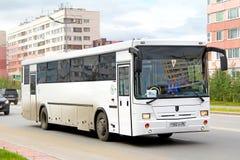 NEFAZ 5299. NOVYY URENGOY, RUSSIA - AUGUST 15, 2012: White NEFAZ 5299 interurban coach at the city street stock photo