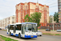 NEFAZ 5299. UFA, RUSSIA - JUNE 10, 2009: White and blue NEFAZ 5299 city bus at the city street Royalty Free Stock Photo