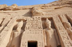 Nefertari小寺庙  abu埃及simbel 库存照片