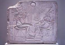 Nefertiti and Echnaton in Egyptian Museum. BERLIN, GERMANY - SEPT 2:  Shrine stela from 15th century BC, Nefertiti and Echnaton in Egyptian Museum on September 2 Stock Photography