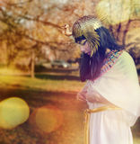 Nefertiti15. Girl dressed in vintage clothing Nefertiti Stock Photo