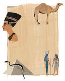 Nefertiti Papyrus Background Stock Photos
