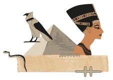 Nefertiti Papyrus Banner Royalty Free Stock Photos