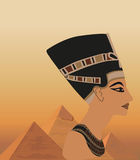 Nefertiti and the Pyramids Stock Photos