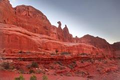 Nefertiti Rock Canyon Park Avenue incurva il parco nazionale Moab Utah Immagini Stock