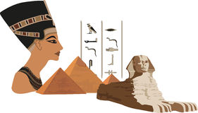 nefertitipyramider royaltyfri illustrationer