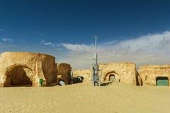 NEFTA TUNESIEN - 19. September ursprüngliche Filmlandschaft für Star Wars-Film eine neue Hoffnung nahe Stadt in der Sahara-Wüste  Lizenzfreies Stockfoto