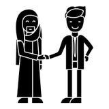 Negócio árabe, parceria, ícone do aperto de mão dos homens de negócios, ilustração do vetor, sinal no fundo isolado ilustração royalty free