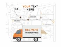 Negócio alaranjado do transporation da entrega da carga infographic com transporte Fotos de Stock Royalty Free