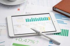 Negócio analítico com PC da tabuleta Fotos de Stock Royalty Free