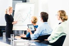Negócio - apresentação da equipe no whiteboard foto de stock