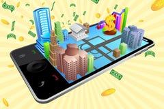 Negócio através do móbil ilustração royalty free