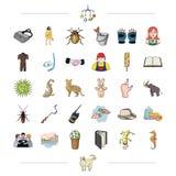 Negócio, caça, construção e o outro ícone da Web no estilo dos desenhos animados lazer, turismo, ícones do entretenimento na cole Imagem de Stock Royalty Free