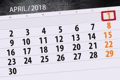 Negócio calendário página 2018 o 1º de abril diário Imagem de Stock