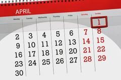 Negócio calendário página 2018 o 1º de abril diário Imagem de Stock Royalty Free