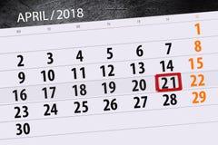 Negócio calendário página 2018 o 21 de abril diário Imagem de Stock Royalty Free