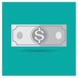 Negócio cinzento da ilustração do dinheiro do vetor do dólar na parte traseira do azul Fotos de Stock Royalty Free