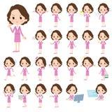 Negócio cor-de-rosa women_1 envelhecido meio do terno ilustração stock