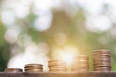 negócio crescente da pilha da moeda do dinheiro imagens de stock royalty free