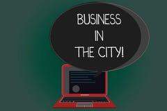Negócio da escrita do texto da escrita na cidade Escritórios profissionais das empresas urbanas do significado do conceito nas ci ilustração stock