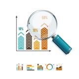 Negócio da lente de aumento e do diagrama Vetor ilustração stock