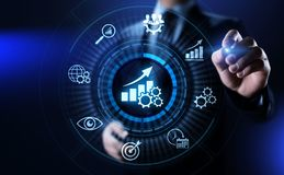Negócio da otimização do aumento do indicador de desempenho chave de KPI e processo industrial imagem de stock