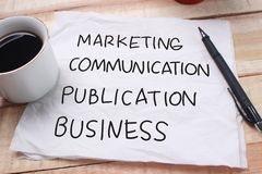 Negócio da publicação de uma comunicação de mercado, palavras inspiradores imagem de stock royalty free