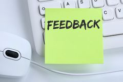 Negócio da revisão da avaliação de opinião do serviço ao cliente do contato do feedback foto de stock