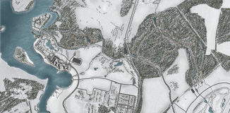 Negócio da terra e da propriedade da vista aérea Foto de Stock