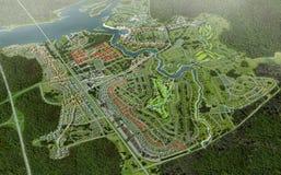 Negócio da terra e da propriedade da vista aérea Imagem de Stock Royalty Free