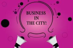 Negócio de exibição do sinal do texto na cidade Escritórios profissionais das empresas urbanas conceptuais da foto nas cidades do ilustração stock