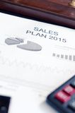 Negócio de exibição e relatório financeiro Plano das vendas Imagem de Stock
