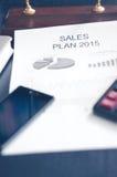 Negócio de exibição e relatório financeiro Plano das vendas Foto de Stock Royalty Free