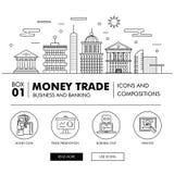 Negócio de operação bancária e indústria modernos do comércio Fotos de Stock Royalty Free