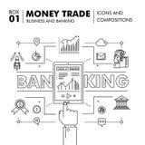 Negócio de operação bancária e indústria modernos do comércio Imagens de Stock